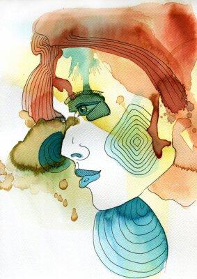 Posters Akwarelowy portret kobiety