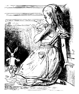 Posters Alice Watches the White Rabbit Run Away vintage illustration