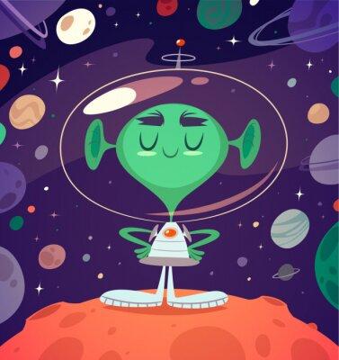 Posters Alien heureux. Style rétro carte / affiche / arrière-plan.