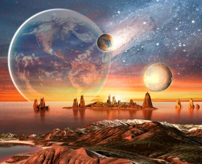 Posters Alien Planet With Earth Moon And Mountains