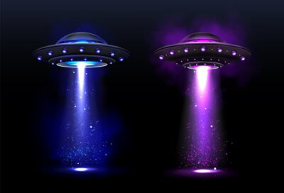 Posters Alien spaceships, ufo with blue and purple light beam. Vector realistic illustration of futuristic flying saucer, unidentified round rocket. Clipart of galaxy spacecraft, glow rocketship