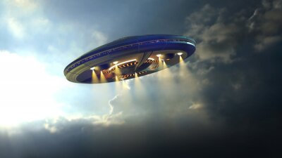 Posters Alien UFO saucer flying through the clouds above Earth