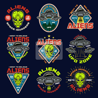Posters Aliens and ufo set of nine vector colored emblems