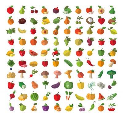 Posters Alimentaire. Fruits et légumes. Ensemble d'icônes colorées