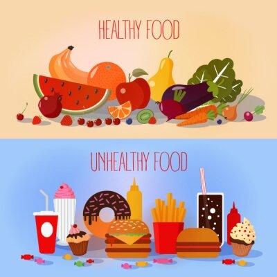 Posters Alimentation saine et la restauration rapide malsaine