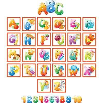 Posters Alphabet coloré pour les enfants avec des photos
