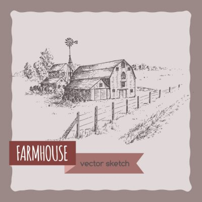 Posters Américain, ferme, maison, grange, pâturage, vecteur, croquis