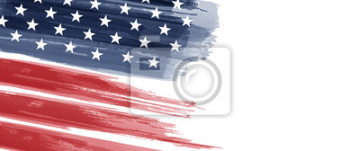 Posters American National Holiday. US Flag with American stars, stripes and national colors. Watercolors.