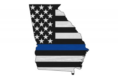 Posters American thin blue line flag on map of Georgia