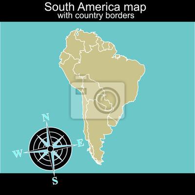 Amérique du Sud carte avec les frontières de contry