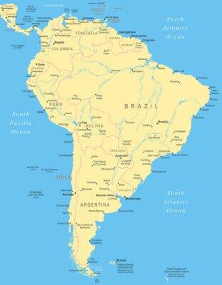 Posters Amérique du Sud carte - très détaillées illustration vectorielle.
