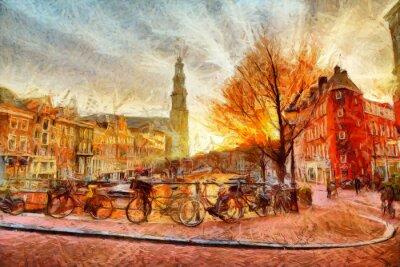Posters Amsterdam, canal, soir, impressionniste, peinture