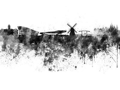 Posters Amsterdam horizon à l'aquarelle noire