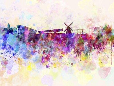 Posters Amsterdam horizon dans le fond d'aquarelle