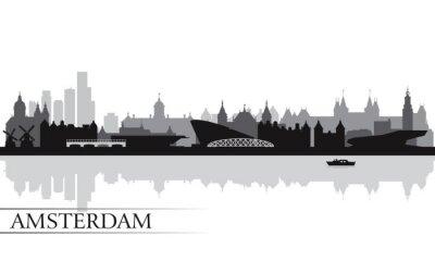 Posters Amsterdam toits de la ville silhouette fond