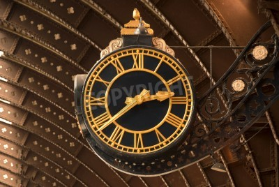 Posters An Antique Black and Gold Railway Station Clock