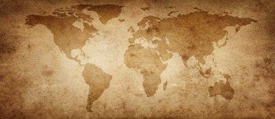 Posters Ancienne carte du monde sur un vieux fond de parchemin. Style vintage. Éléments de cette image fournie par la NASA.