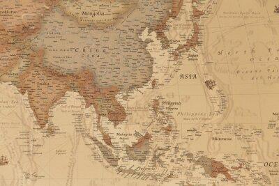 Posters Ancienne carte géographique de l'Asie avec les noms des pays
