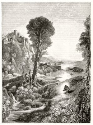 Posters Ancient grayscale etching style illustration of a majestic natural landscape at sunset with a river leading to the sun. By Marvy after Turner publ. on Magasin Pittoresque Paris 1848
