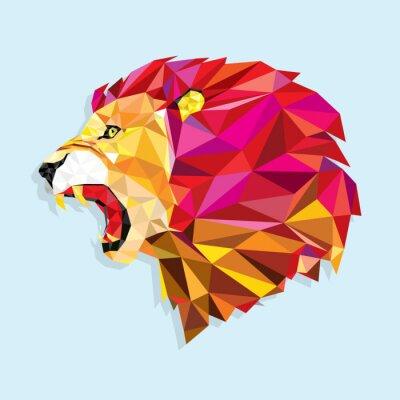 Posters Angry lion avec Pattern géométrique Vector illustration