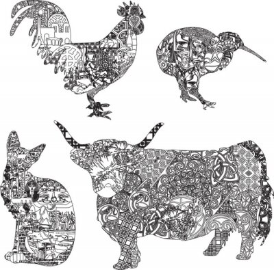 Posters animaux en ornements ethniques