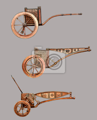 Posters Antique chariot. Egyptian bronze chariot. Acylic illustration.