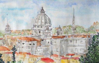 Posters Aperçu de Rome aquarelle
