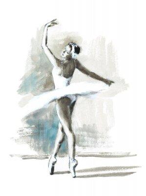 Posters Aquarelle, ballerine, main, peint, ballet, danseur, Illustration
