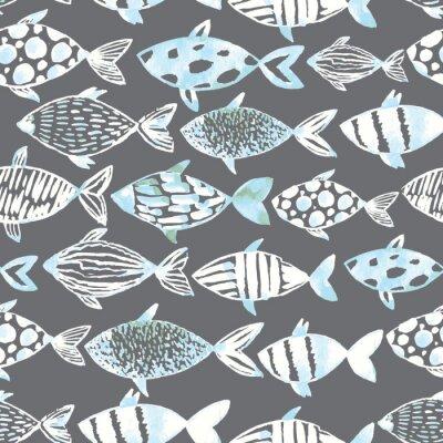 Posters Aquarelle blanche poissons blancs sur le fond gris.