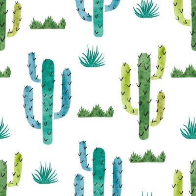 Posters Aquarelle cactus seamless pattern. Vecteur de fond avec cactus vert et bleu isolé sur blanc.
