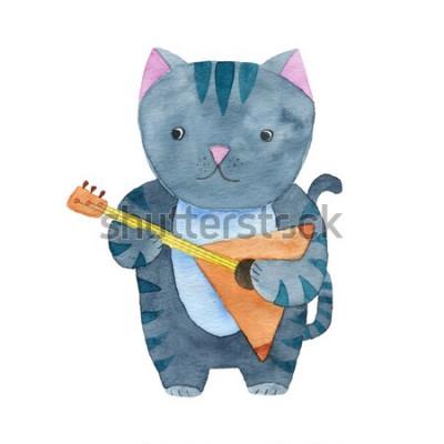 Posters Aquarelle chat jouant de la balalaïka ou de la guitare
