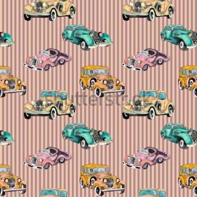 Posters Aquarelle main dessinée modèle sans couture artistique coloré rétro voiture vintage