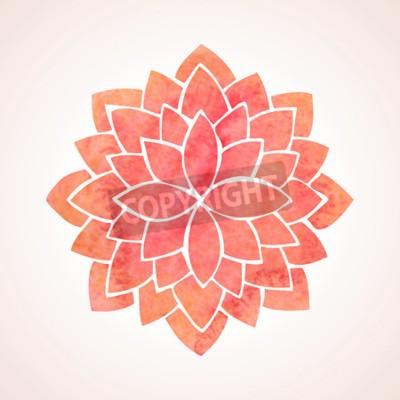 Posters Aquarelle motif rouge de fleur de lotus sur fond blanc
