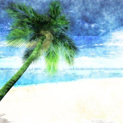 Posters Aquarelle, paume, arbre, plage