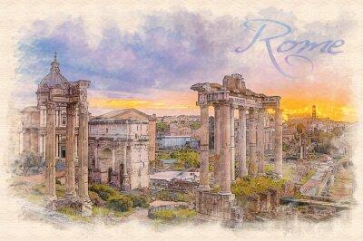 Posters Aquarelle, peinture, effet, illustration, aube, sur, romain, forum