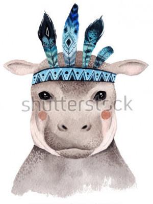 Posters Aquarelle portrait hippo, boho design mignon avec des plumes. Imprimés de pépinière avec des animaux, des affiches et des cartes postales.