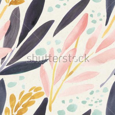 Posters Aquarelle transparente sur la texture du papier. Fond floral