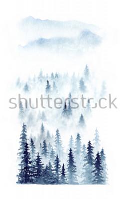 Posters Aquarelles paysage d'hiver d'une forêt dans le brouillard. Epicéas isolés sur fond blanc
