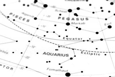 Posters Aquarius carte du zodiaque étoile. Signe astrologique Verseau sur une carte l'astronomie étoiles.