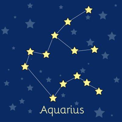 Posters Aquarius Eau Zodiac constellation avec des étoiles dans le cosmos. Image vectorielle