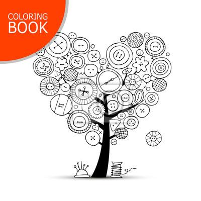Coloriage Arbre Dete.Arbre A Coudre Avec Des Boutons Dessin De Page De Livre De