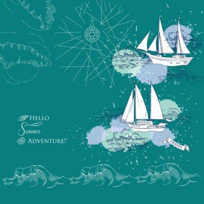 Posters Arrière-plan avec des navires et des vagues. Mer tirée par la mer, les vagues et les yachts. Illustration vectorielle
