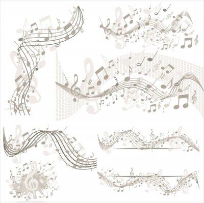 Posters Arrière-plan avec des notes de musique en beige