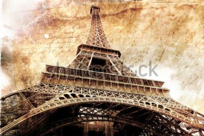 Posters Art numérique abstrait de la tour Eiffel à Paris, or. Vieux papier. Carte postale, haute résolution, imprimable sur toile