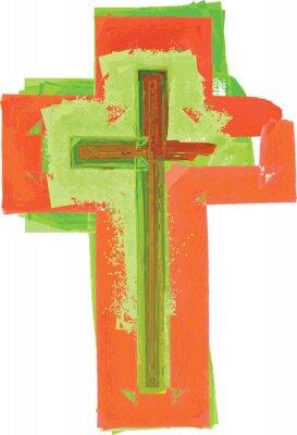 Posters Artistique résumé aquarelle style coloré moderne vert et rouge croix