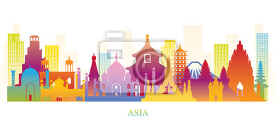 Posters Asia Skyline Landmarks Colorful Silhouette