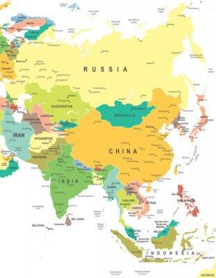 Posters Asie - carte - illustration. Asie carte - très détaillées illustration vectorielle.