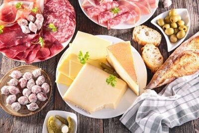 Posters assortiment de fromages, de la viande