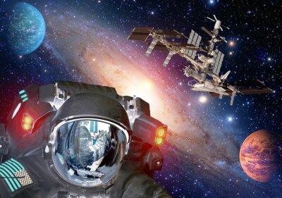 Posters Astronaut et alien extraterrestre sci fi ufo espace planètes vaisseau spatial. Éléments de cette image fournis par la NASA.