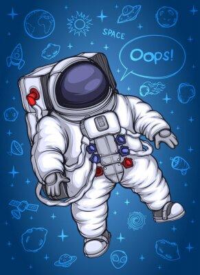 Posters Astronaute dans l'espace. Contre l'arrière-plan des objets cosmiques.